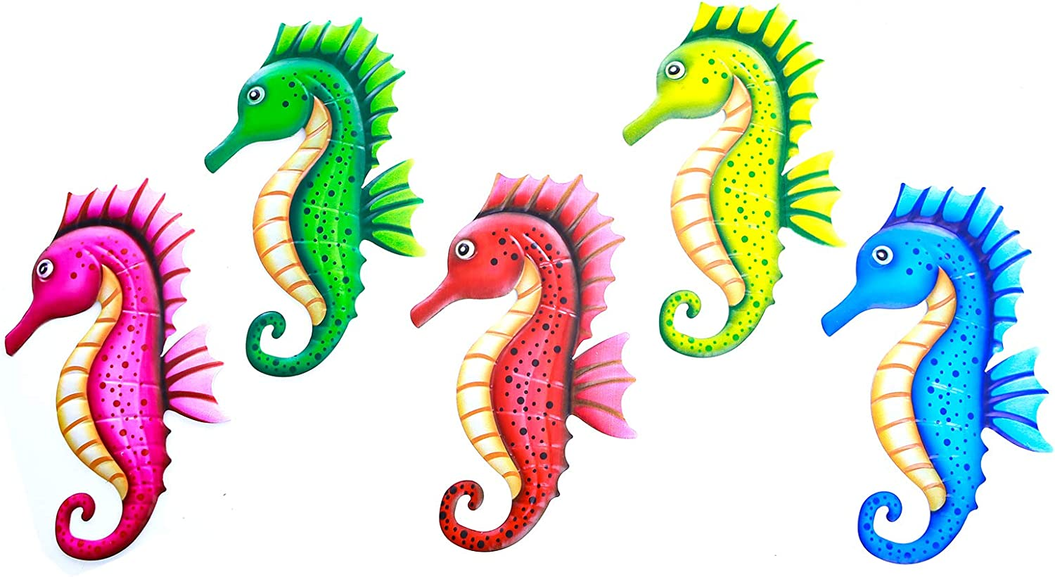 5 Pack Metal Seahorse Wall Decor Art Plaque Sculpture Hanging for Home Decor Porch Fence Garden(13.5 Inch x 8.5 Inch)