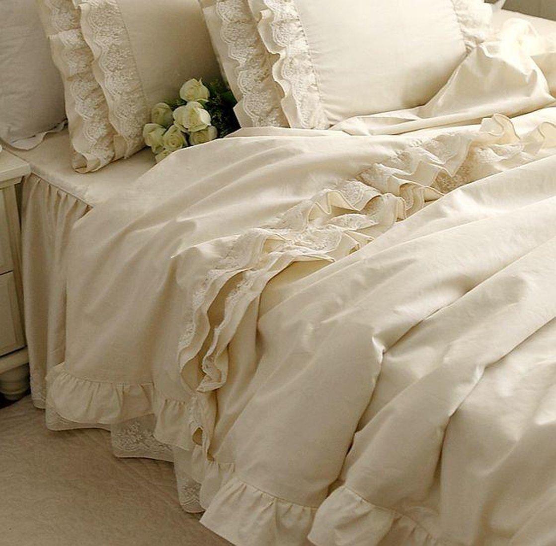寝具カバーセット 【優雅なシフォンレース!】綿100%クリーム色寝具カバーセット (ダブル) B00L2BM6N0  ダブル