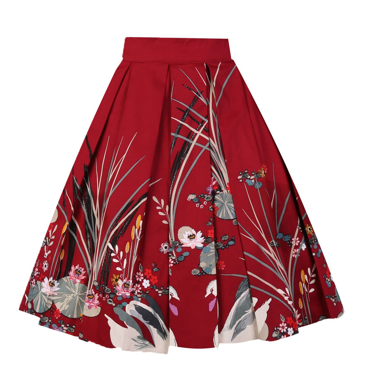 Girstunm Women's Pleated Vintage Skirt Floral Print A-line Midi Skirts with Pockets Red-Swan XL