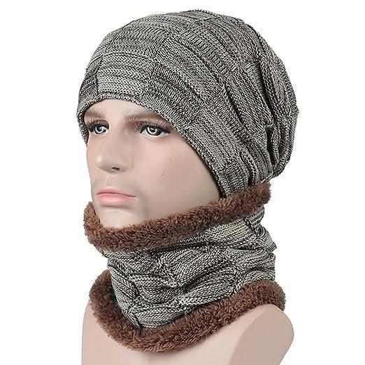 e7acc5a4464 Men Camping Hat Winter Warm Crochet Knit Baggy Beanie Wool Skull Hat Ski Cap  Scarf Set