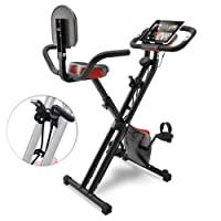 Sportstech F-Bike X100 & X150-4in1 Heimtrainer-X Bike - Einzigartiges Zugbandsystem -Handpulssensoren -Ergometer -Hometrainer -Faltbares Fitness-Fahrrad -Tablethalterung Rückenlehne klappbar