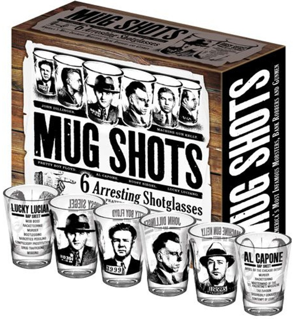 Mug Shots - 6 Piece Shot Glass Set of Famous Gangster Mugshots - Comes in a Colorful Gift Box by The Unemployed Philosophers Guild