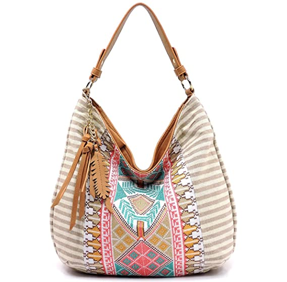 Amazon.com  MMS Design Studio Boho Large Hobo w Fringe Charm (Beige)   Clothing 878fb254ef48b