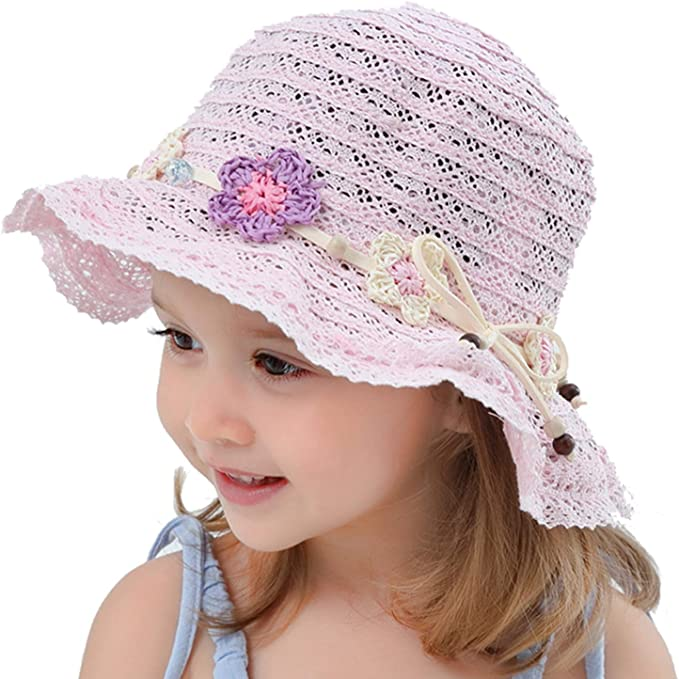 Lk /_ Enfants Bébé Fille Casquette Paille Fleur Chapeau Soleil Enfants Été Plage