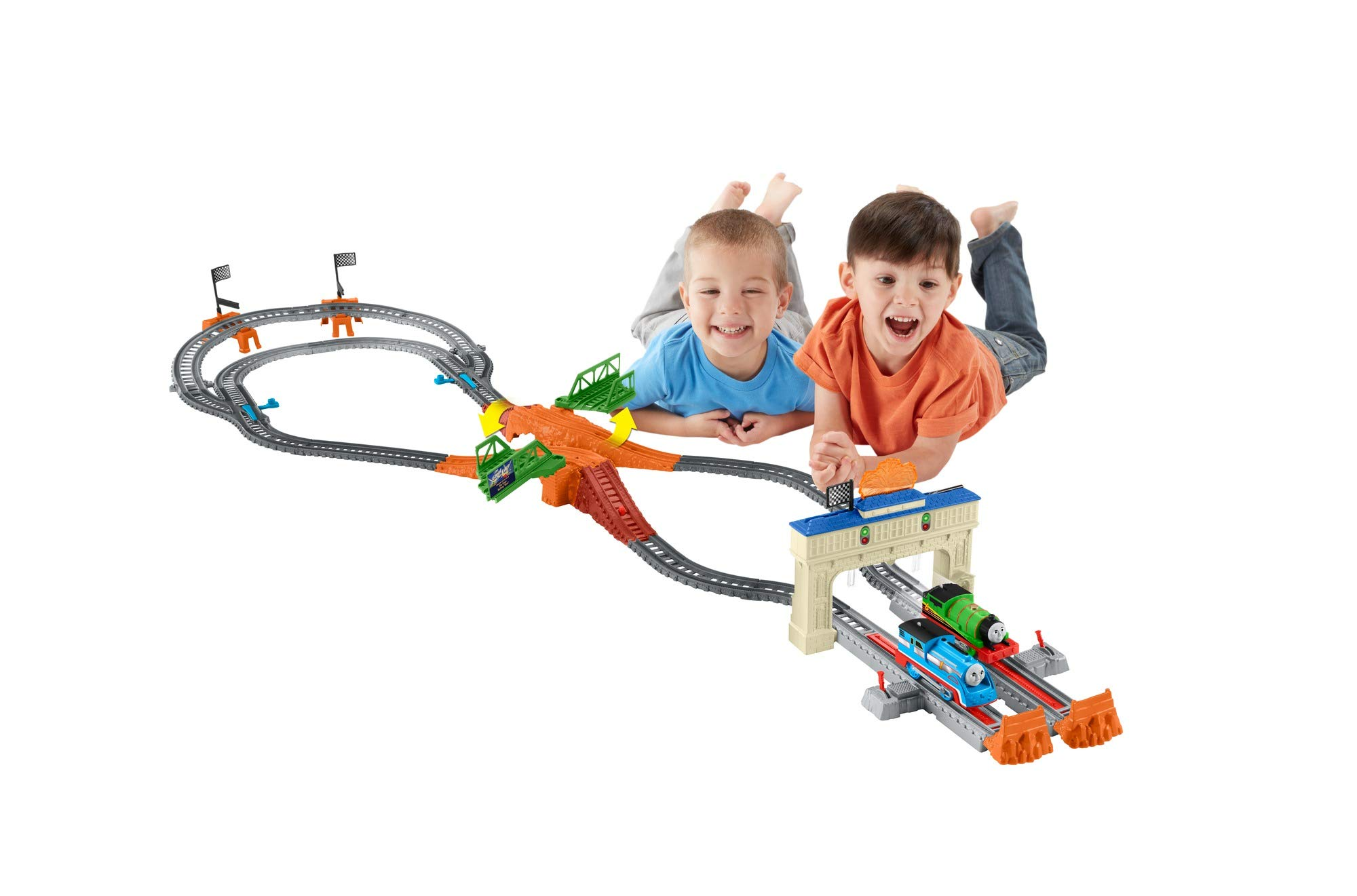 Fisher Price Trackmaster Thomas /& Friends Percy/'s Head to Head Racing Set