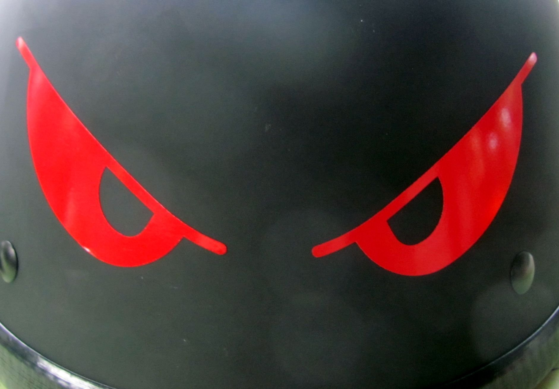 """Reflective Evil Eyes in Red - 5 3/4"""" x 2""""die cut vinyl decal for helmets, windows, cars, trucks, tool boxes, laptops…"""