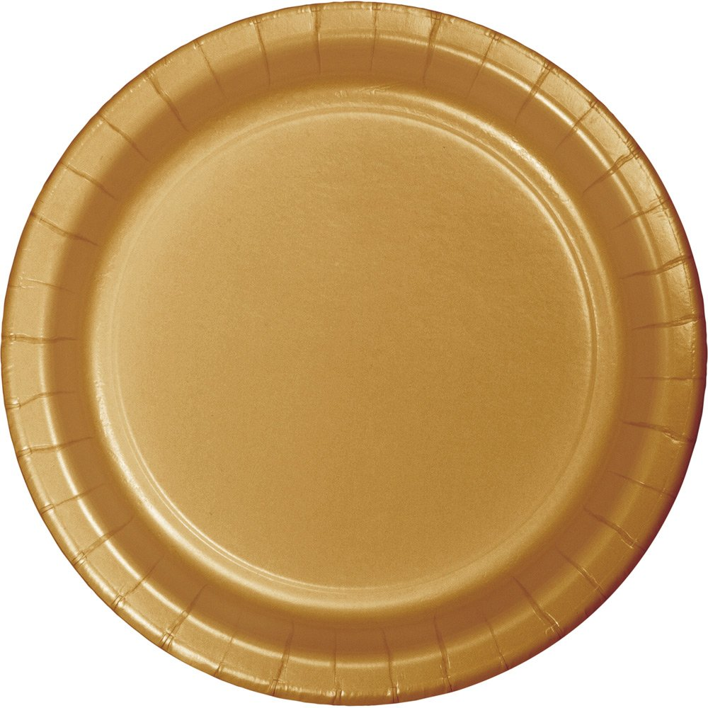 Creative Converting 47103B Touch of Color 240 Count Dinner Paper Plates, Glittering Gold