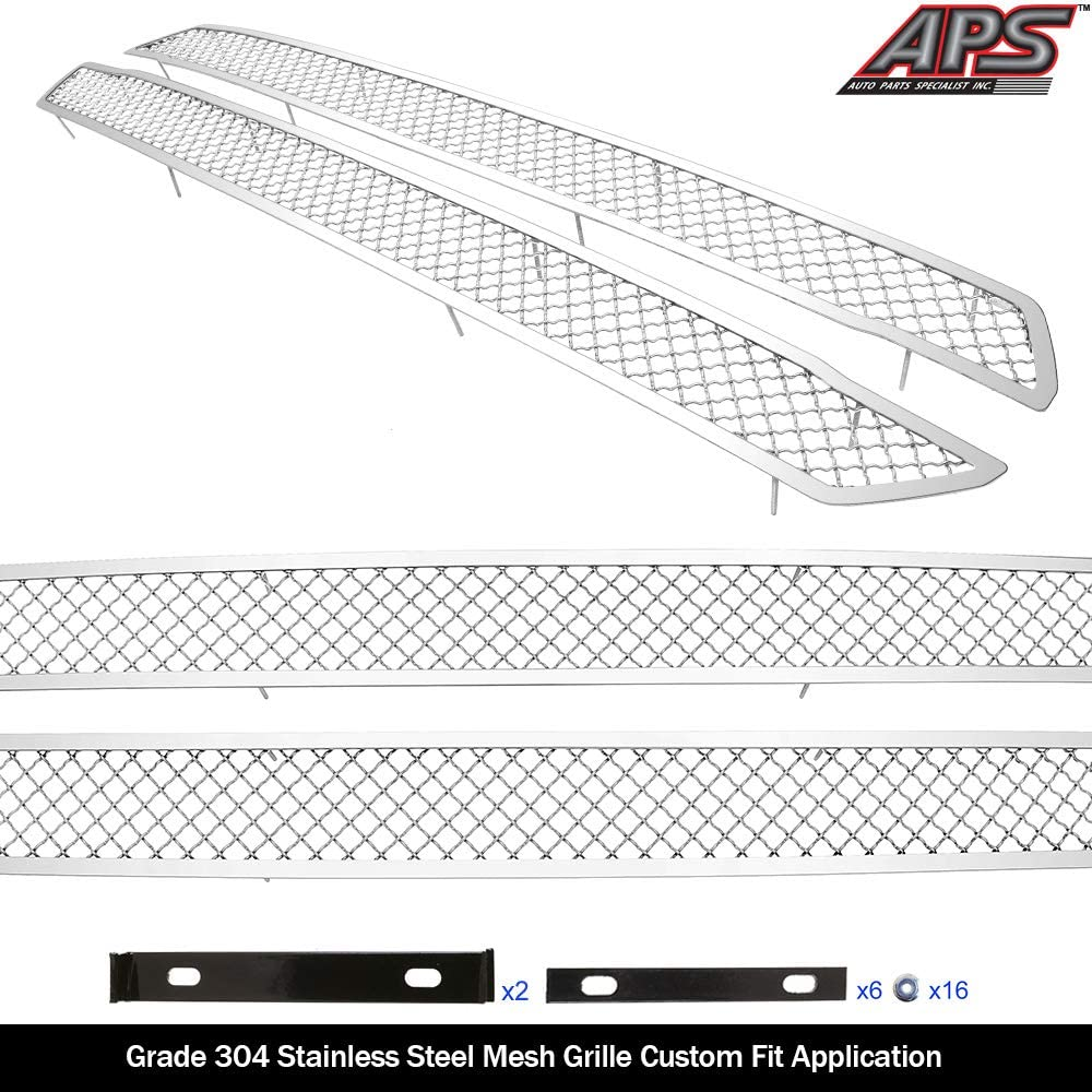 Fits 2018-2020 Ford F-150 XL//XLT//Lariat Bar Style Stainless Black Mesh Grille