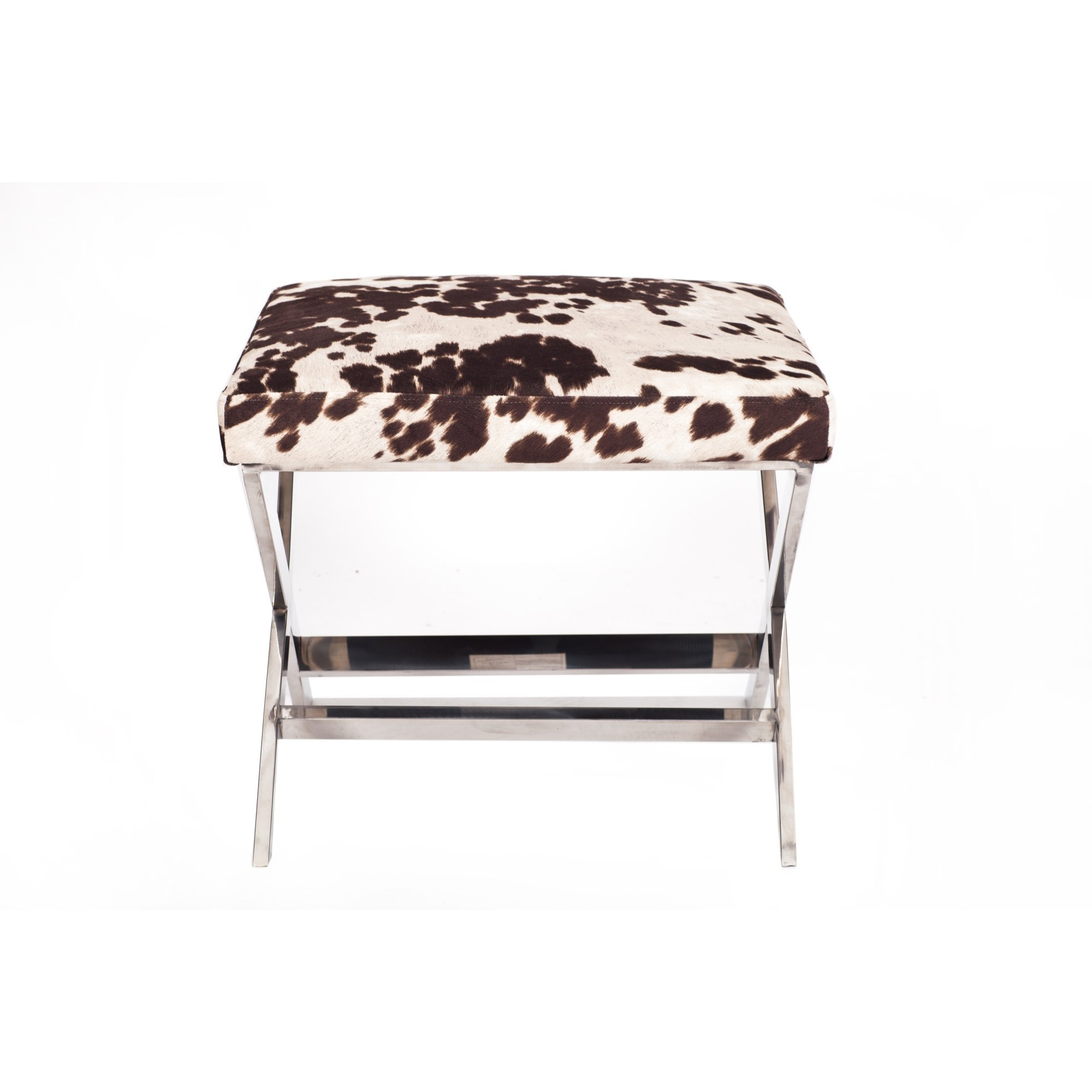 Iconic Home William Modern Udder Madness Milk Velvet Faux Cow Fur Chrome X-leg Ottoman
