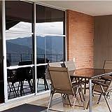 Zanbringe 29.5x78.7 Inches(75x200CM) Non-Adhesive Home & Office Sunlight Control Static Cling Privacy Window Film, Black & Gray