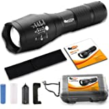 Brightest Tactical LED Flashlight - A100 High Powered Handheld Tac Light - Rechargeable 18650 Lithium Ion Battery & Charger - Zoomable Adjustable Focus 5 Modes Outdoor Torch - Includes: Belt Holster