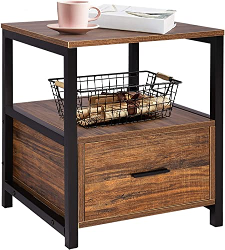 VECELO Modern Rectangular Wood Nightstand Side End Coffee Accent Table, Cabinet with Drawer for Storage, Brown