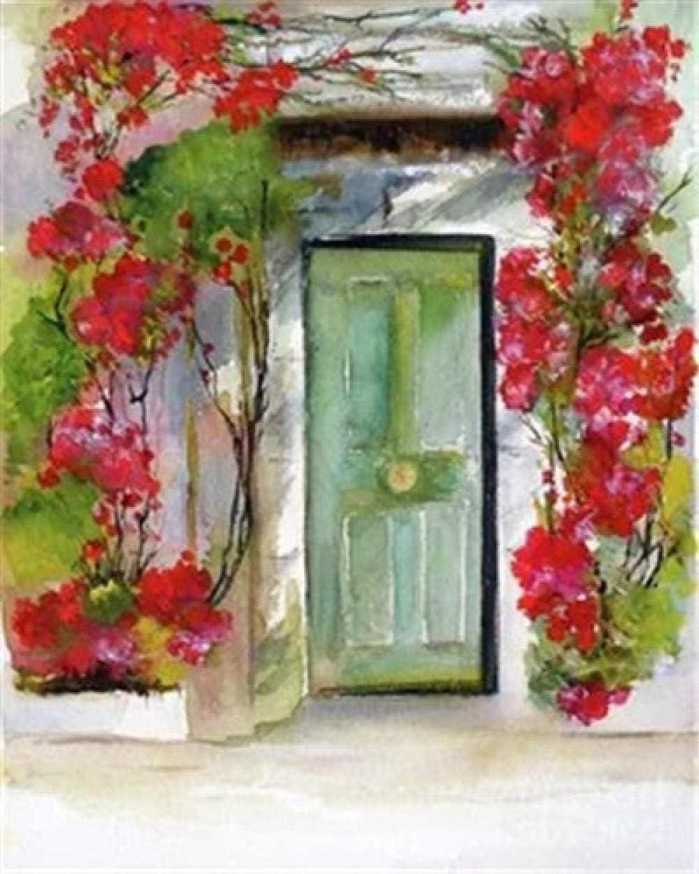Lcgbw Digital Pintura Al Óleo Regalo para Adultos Niños Puerta Cuadros para Pintar con Numeros Decoración-40X50 Cm(Sin Marco De Madera)