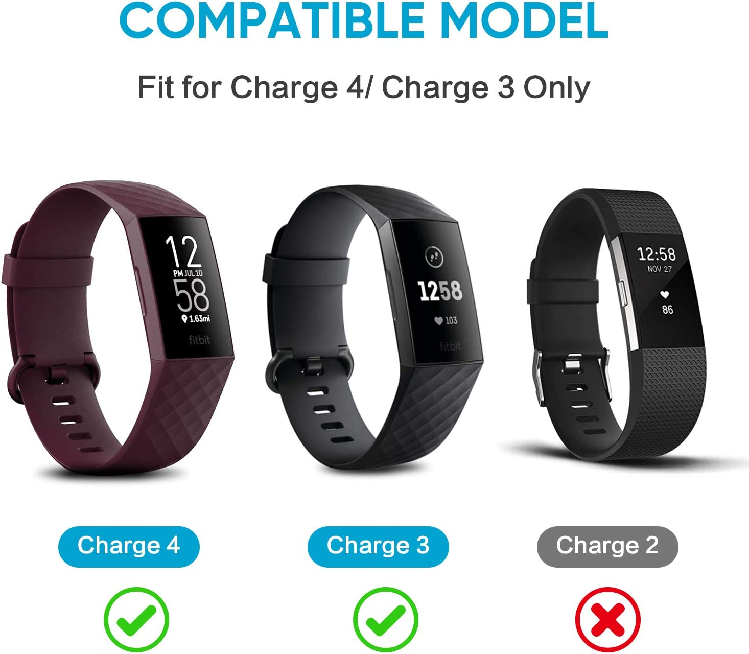 Fymint 2-Pack Charger Cable Compatible with Fitbit Charge 4 3.3Ft Replacement U