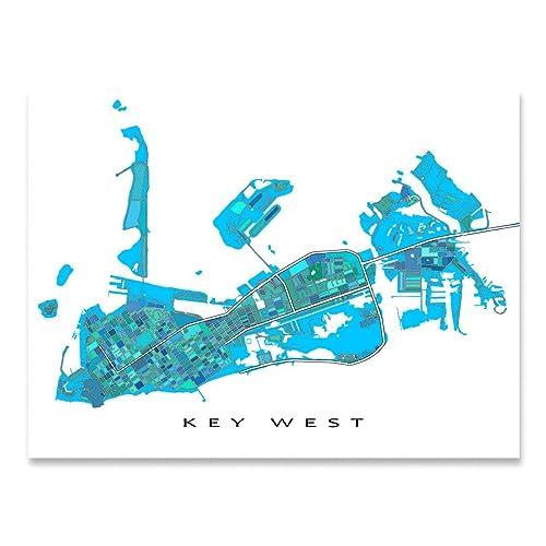 Printable Map Of Florida Keys.Amazon Com Key West Map Print Florida Keys Usa Street Art Poster