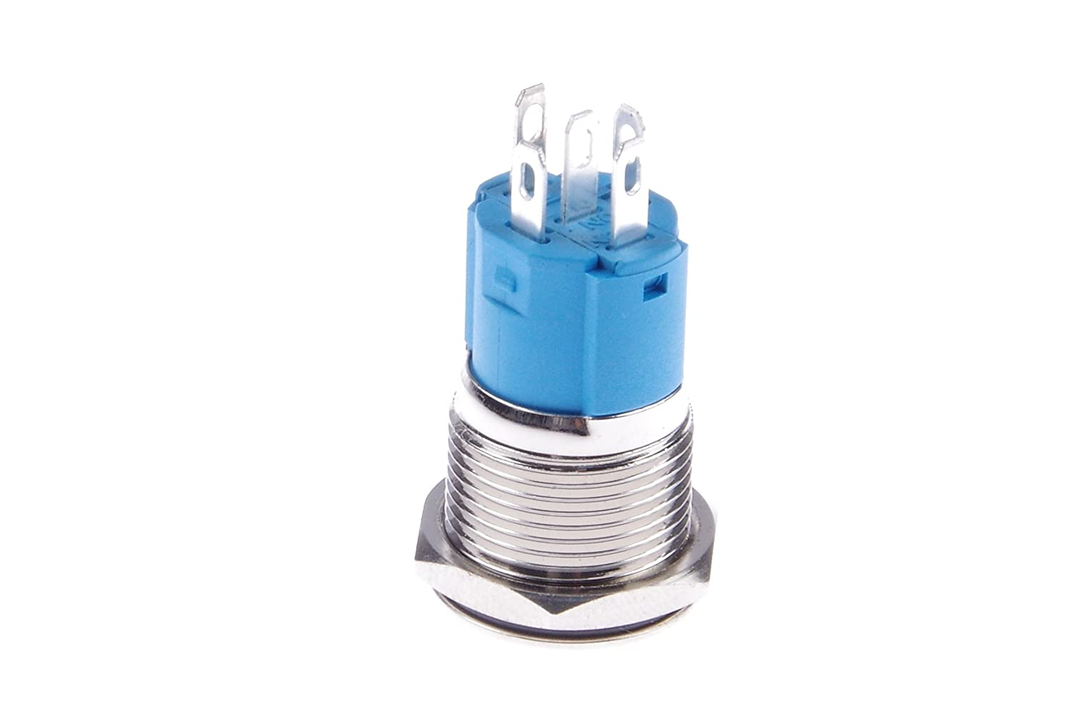 KNACRO DC 3-5V 16mm Metal Button Switch Self-Complex Blue Ring Glowing Angel Eyes Energy Saving LED Lamp Beads IP67 Waterproof,Explosionproof,Compression Resistant,Wear Resistant