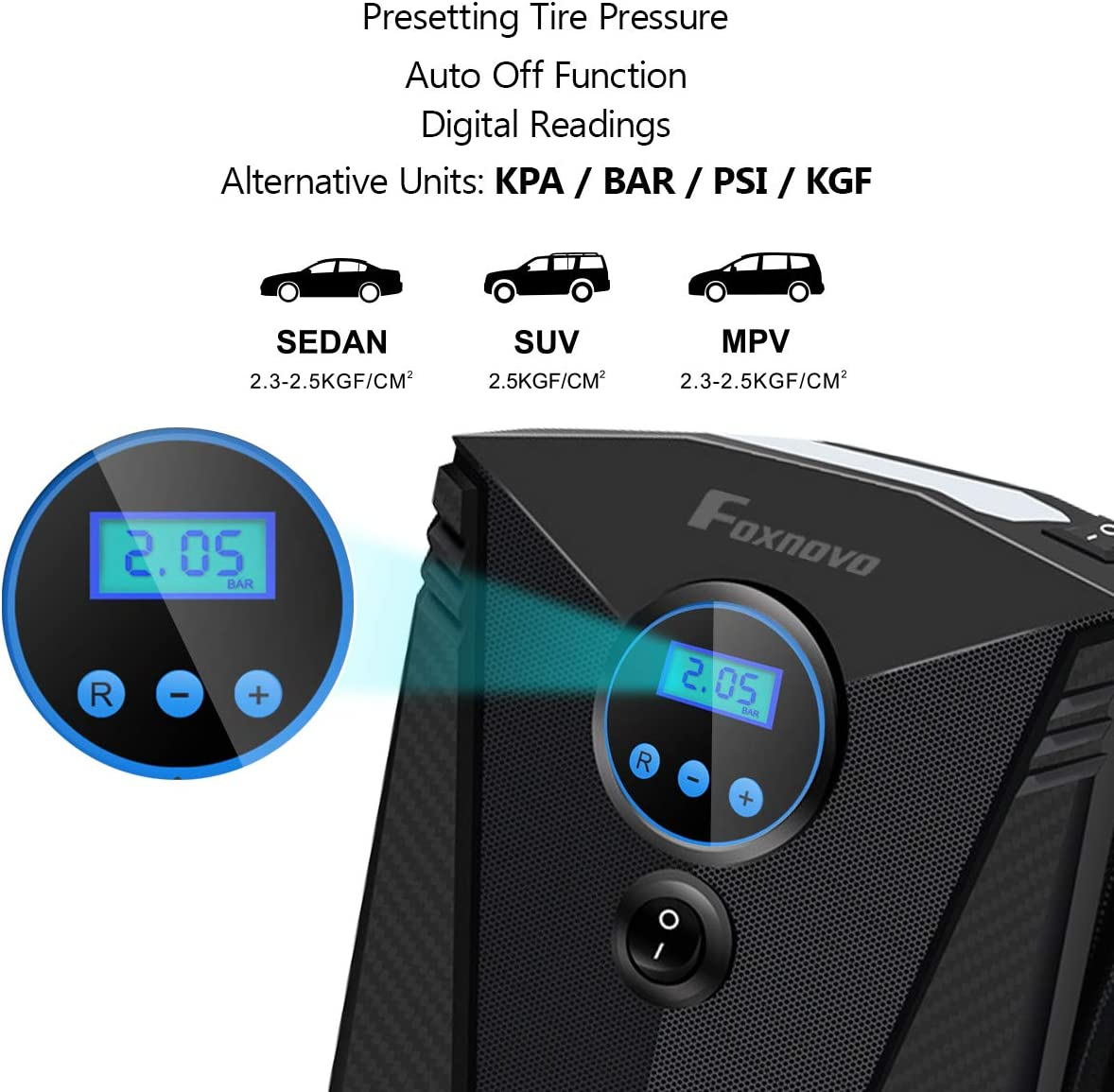 Emergency Led Lighting /& Long Cable for Car Foxnovo Tire Inflator for Car//Portable Air Compressor//Car Tire Pump//Auto Tire Pump with Pressure Gauge Auto Shut Off Easy to Store