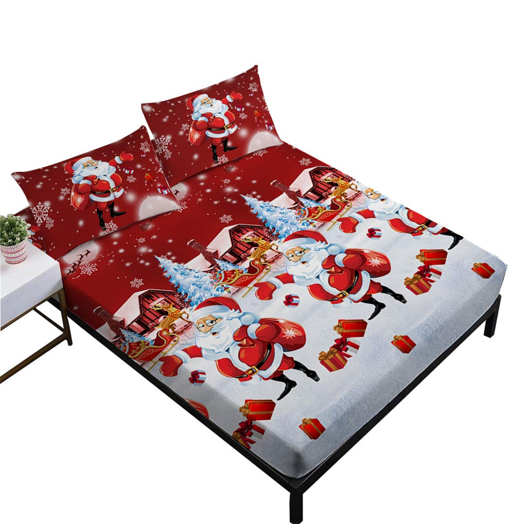 Sheets Full Size,Christmas 3D Bedding Set,Home Decor Includes Fitted Sheet Flatsheet Pillowcase Jessy Home