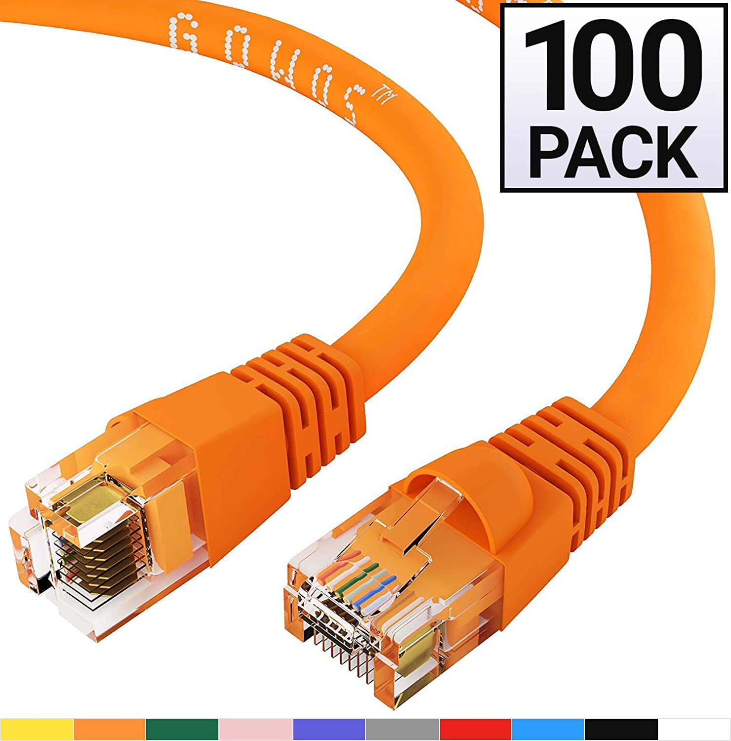 GOWOS Cat5e Ethernet Cable 1Gigabit//Sec High Speed LAN Internet//Patch Cable 100-Pack - 12 Feet 350MHz Orange 24AWG Network Cable with Gold Plated RJ45 Snagless//Molded//Booted Connector