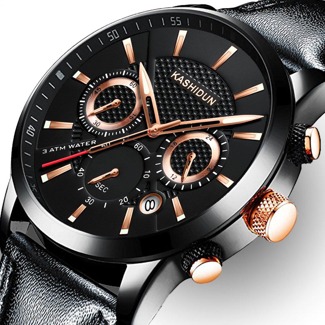 Men Leather Strap Watches Men's Chronograph Waterproof Sport Date Quartz Wrist Watches