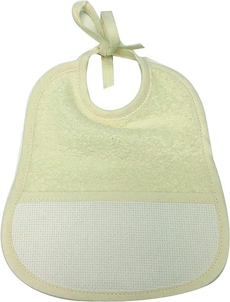 babero de bebé de color liso con cordones con Tela garzata – 95% Algodón – 5% polliamide – 16 x 19 cm crema: Amazon.es: Bebé