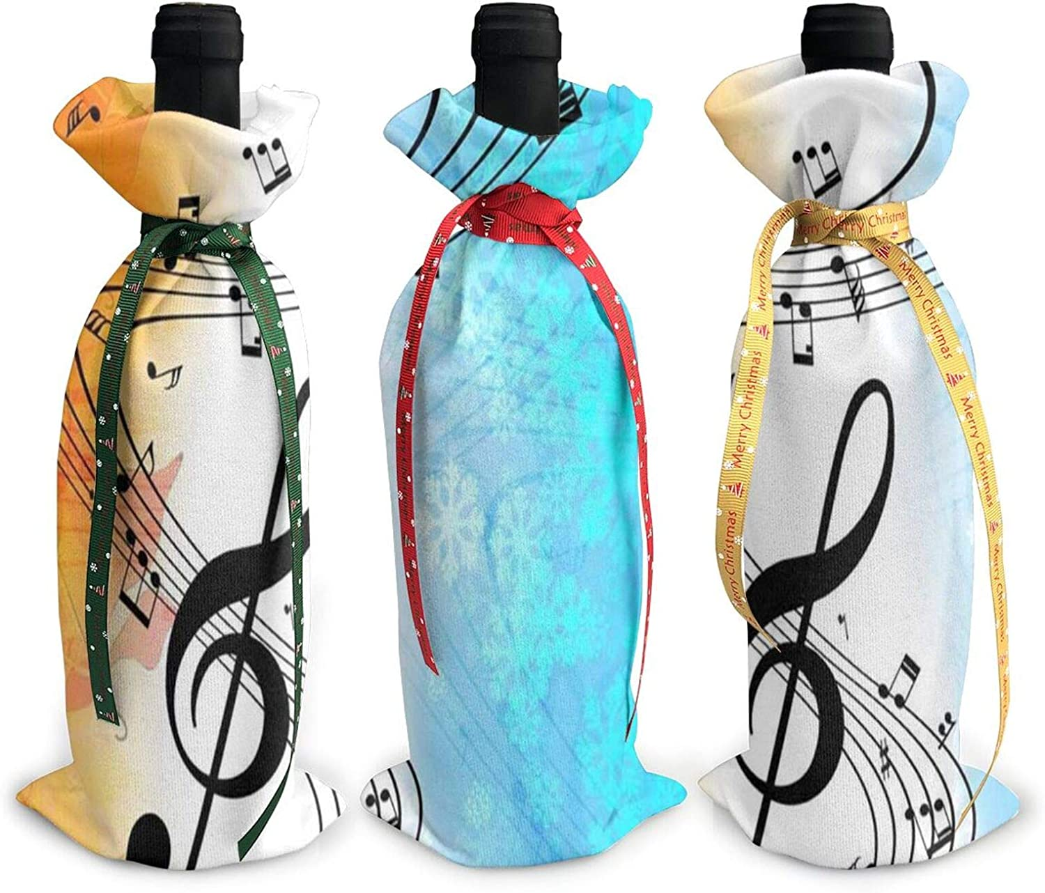 Christmas Wine Bottle Decoration Bag For New Year Wedding Wine Tasting Party Dinner Decor Holiday Ornaments 3pcs Wine Bottle Cover Bags,Xmas Gift Autumn Fall With Music Note Winter