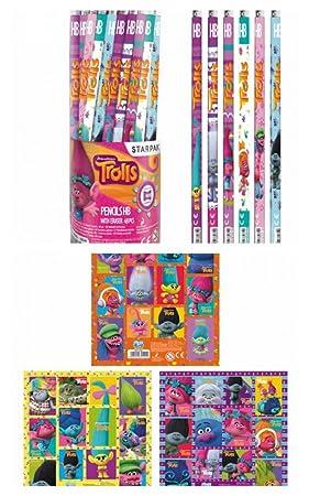 TROLLS 12 Piezas DreamWorks lápiz y Goma de borrar Plus ...