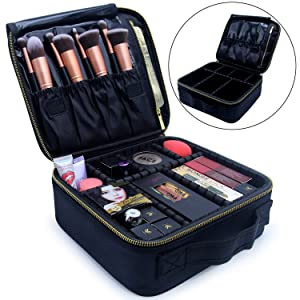 Relavel Travel Makeup Train Case Makeup Cosmetic Case Organizer Portable Artist Storage Bag 10.3 inches with Adjustable Dividers for Cosmetics Makeup Brushes Toiletry Jewelry (Black Golden Zipper)