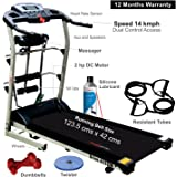 Healthgenie 6in1 Motorized Treadmill 4112M with Massager, Sit-ups, Tummy Twister, Dumbbells & Resistant Tubes, Max Speed 14 Kmph