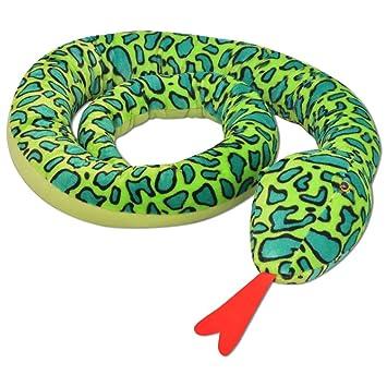 vidaXL Serpiente de Peluche Gigante XXL 350 cm Poliéster Relleno de PP Verde