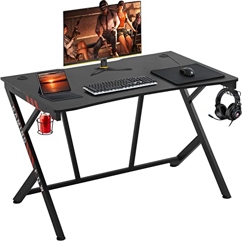 Gaming Desk 45″ W x 29″ D Home Office Computer Desk Racing Style Study DeskExtra Large Modern Ergonomic PC Carbon Fiber Writing Desk Table