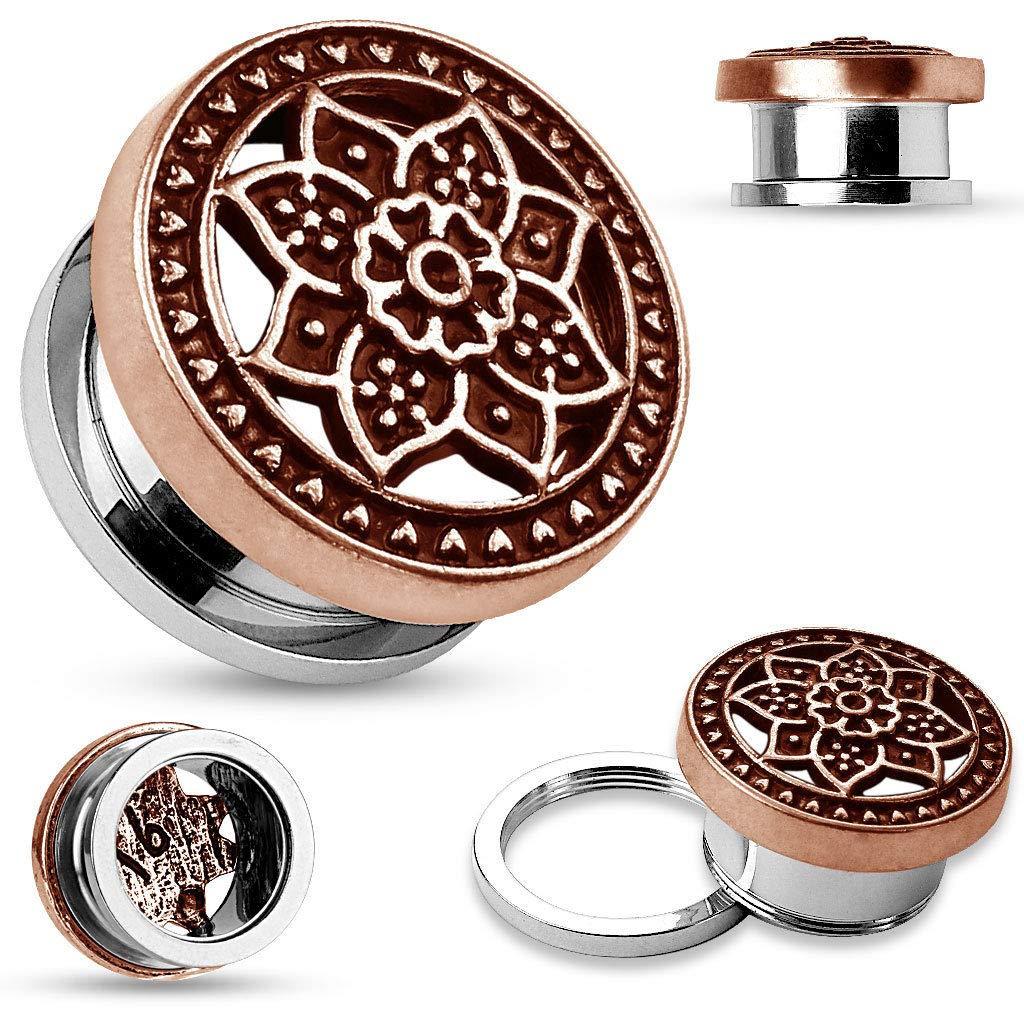 5mm rini/_mc2 1 Pair Burnish Bronze Plate Tribal Lotus Top Screw Fit Flesh Tunnel Ear Plugs 4g