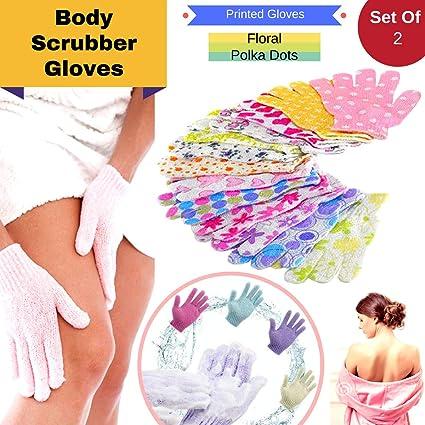 CONNECTWIDE® Flower Printed Bath body scrubber glove Assorted Exfoliating Shower Bath Glove Scrubber Shower Dead Skin Cell Remover Body Spa Massage Sponge Gloves Unisex -1 Pair