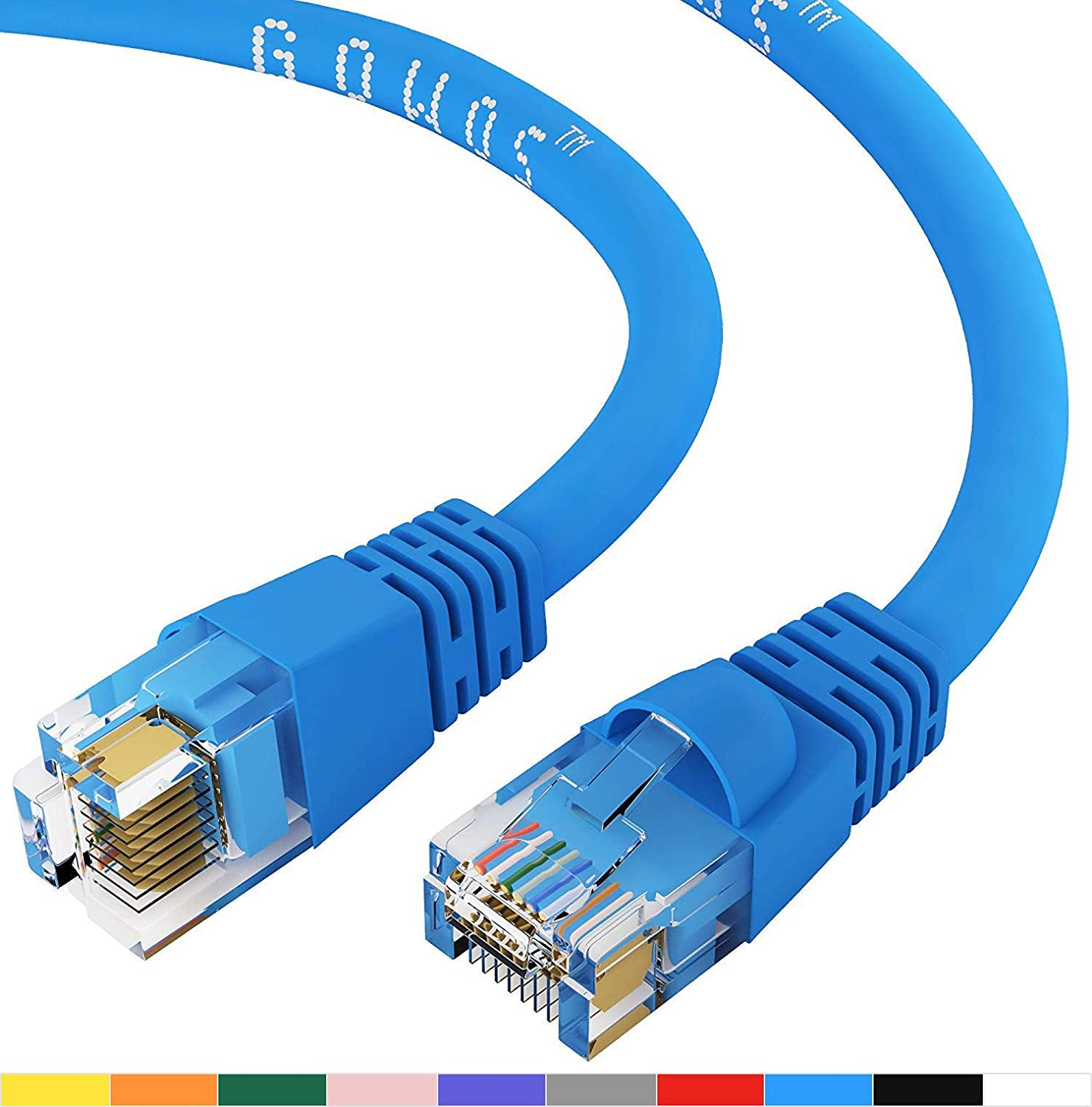 GOWOS Cat6 Ethernet Cable Red 550MHz 10 Gigabit//Sec High Speed LAN Internet//Patch Cable 100-Pack - 1.5 FT 24AWG Network Cable with Gold Plated RJ45 Snagless//Molded//Booted Connector