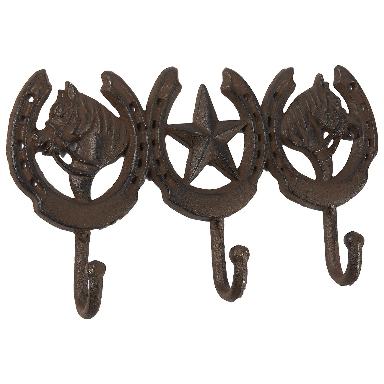 Rustic Iron Wall Hook, Vintage Coat Hook with Horse Design, Decorative Wall Mounted Hanger for Hats, Jackets, and Towels, 3 Hooks, Bronze, 10.8 x 6.3 inches