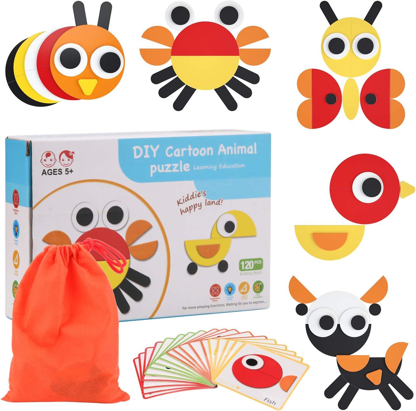 BBLIKE Tangram Puzzle, 120 Montessori Forma Geométrica Bloques de Patrones y 20 Piezas Tarjetas de Diseño Juegos y Juguetes Educativos Regalos para Niños 3 4 5 Años