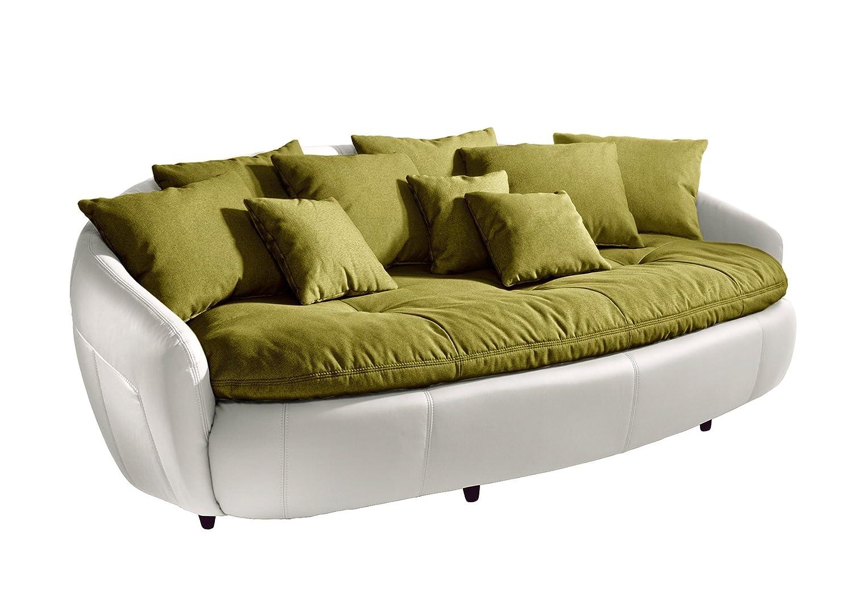 Cotta M010530 C308/H350 Modernes Megasofa, Sitzkissen und Rückenkissen, 238 x 140 cm, Strukturstoff grün, Korpus in weichem Kunstleder weiß