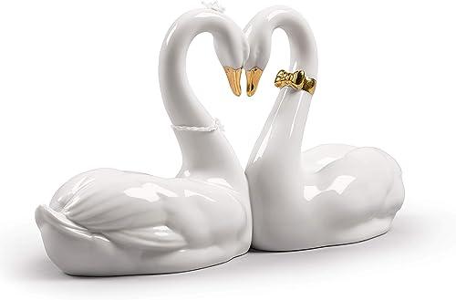 LLADR Endless Love Swans Figurine. Golden Luster. Porcelain Swan Figure.