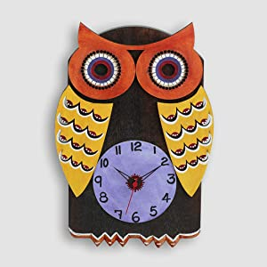 ExclusiveLane Owl Shaped Kids Bedroom Stylish Living Room Decorative Pine and Mango Wood Wall Clock (21 cm x 2.7 cm x 30.9 cm)