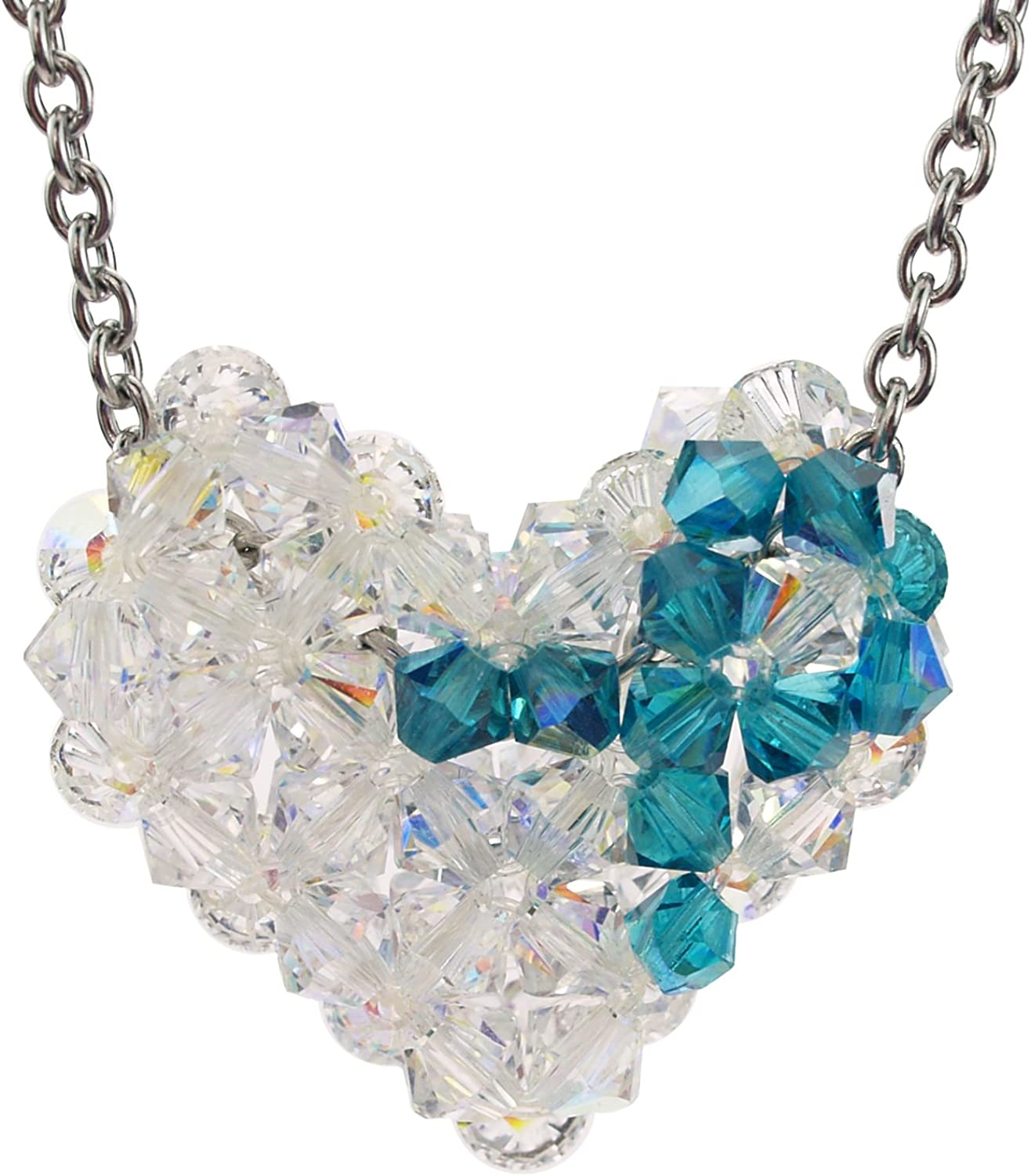 Amazon Com Swarovski Crystal Ovarian Cancer Awareness Puffy Heart Necklace With Stainless Steel Chain Jewelry
