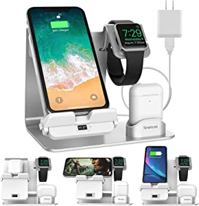 Smatree 3 in 1 Fast Wireless Charger, Innovative Charging Station with Adapter for Apple Watch SE/6/5/4, AirPods Pro/2/1, iPhone 12/12 Pro/11/11 Pro, Galaxy Note 10 & QI Enabled Cellphone, LCD Display