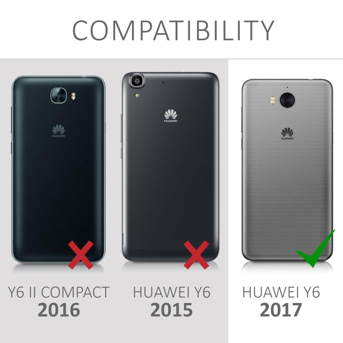 - Carcasa Trasera con dise/ño de Hada en de TPU Plata//Transparente kwmobile Funda para Huawei Y6 2017