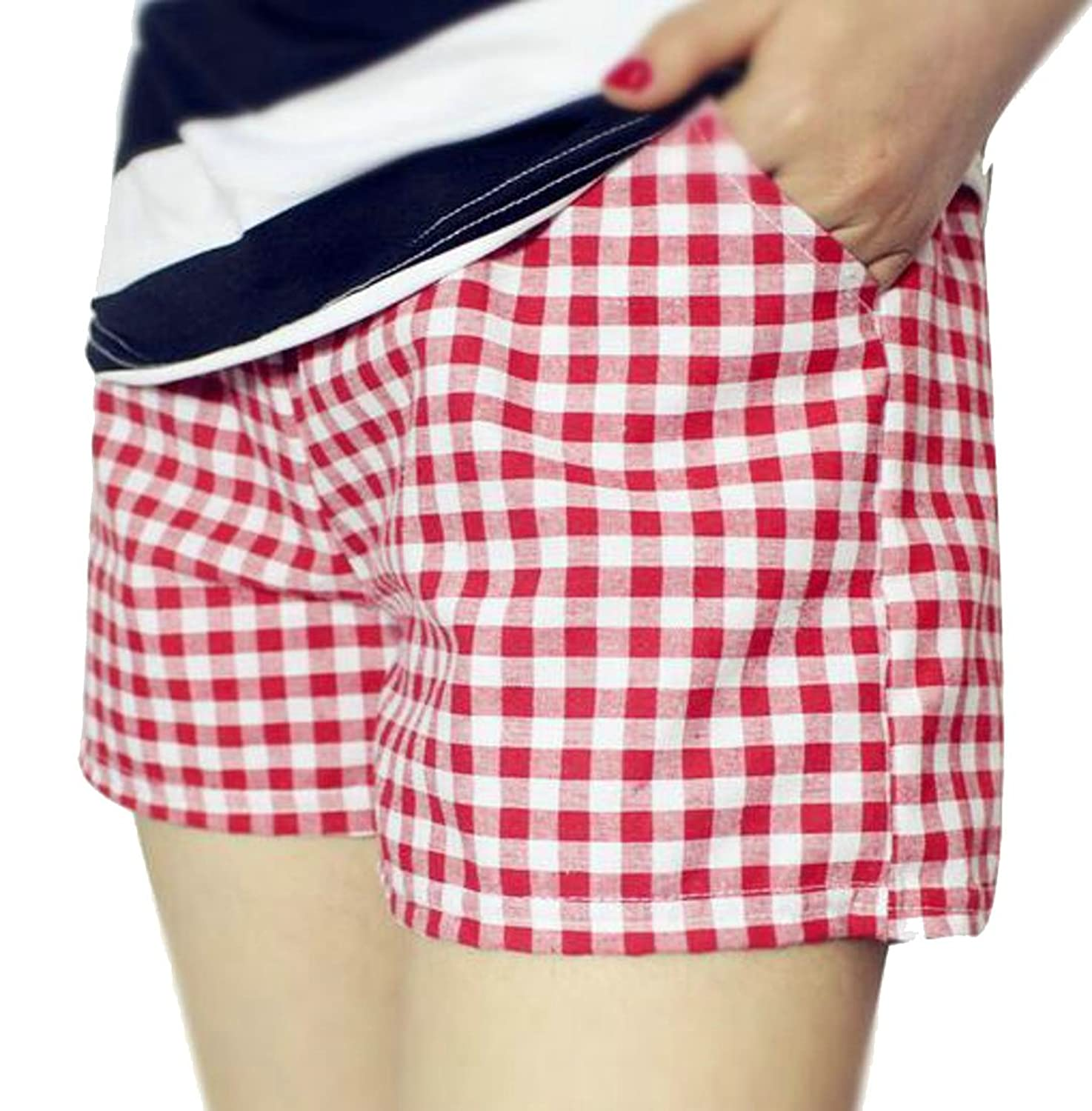 Hot Cromoncent Womens Plaid Printed Drawstring Elastic Waist Walking Shorts free shipping