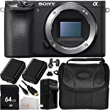 Sony Alpha a6500 (Body Only) 64GB Bundle 9PC Accessory Kit - Includes 64GB Memory Card + 2 Replacement FW-50 Batteries + AC/DC Rapid Home & Travel Charger + Micro HDMI Cable + Carrying Case + Microfiber Cleaning Cloth - International Version with No Warranty