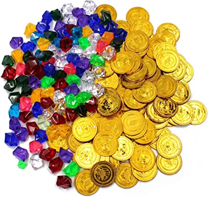 200 Pieces Pirate Toys Gold Coins and Pirate Diamonds Jewelery Gold 100 Coins+100 Gems Treasure for Pirate Party