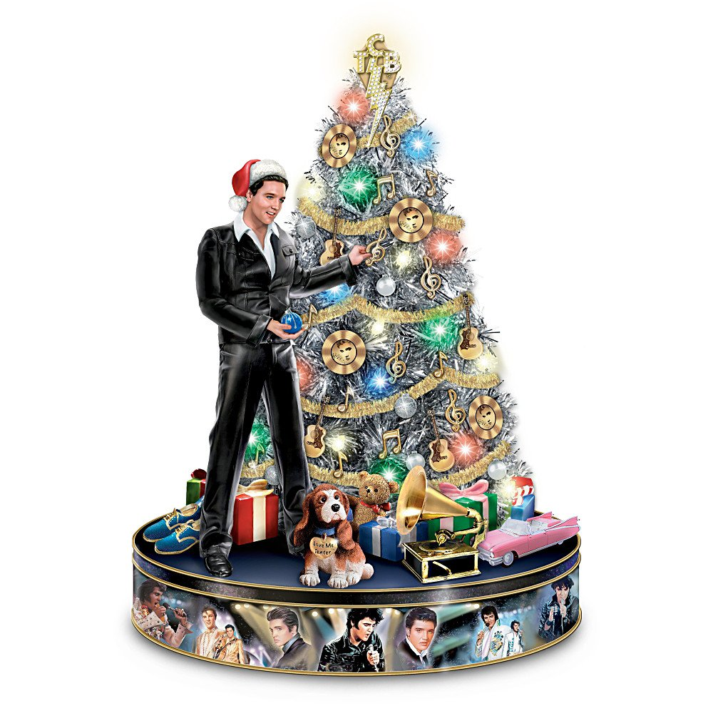 amazoncom elvis rock n roll pre lit and musical tabletop christmas tree by the bradford exchange home kitchen