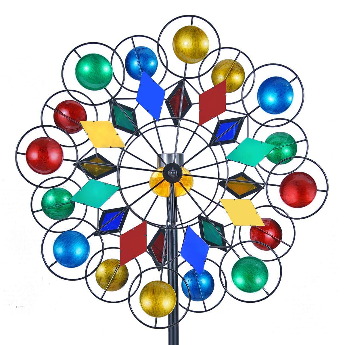 Solar Wind Spinner 3D Kinetic Wind Spinners Outdoor Metal Gardening Decorations with Multi-Color LED Lighting by Solar Powered Glass Ball with Lawn Ornament Wind Mills
