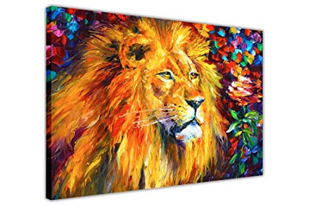 Wid african lion by leonid afremov framed canvas print wall art pictures modern art animal posters