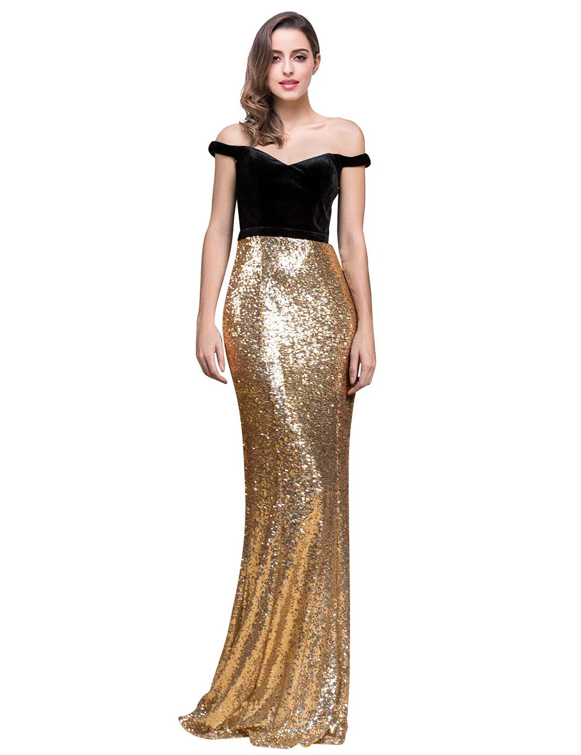 Off Shoulder Long Prom Dress Plus Size Long Evening Gown For Women A Line  Party Robes Sweep Train Formal Celebrity SHPD08 Gold & Black Size 18W