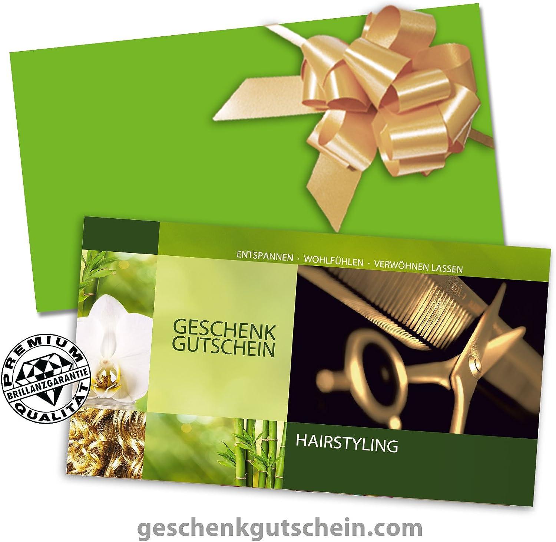 Vorderseite hochgl/änzend Kuverts 10 Stk K1261 10 Stk Gutscheine f/ür Friseursalon Hochwertige Gutscheinkarten